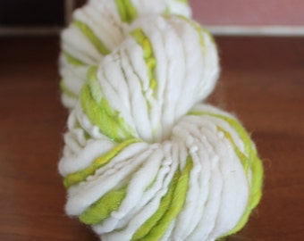Handspun yarn, bulky yarn, 3.4oz - Lime time