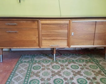 Gorgeous Mid Century Modern Office Credenza Media Storage Slide out Shelf Long Low