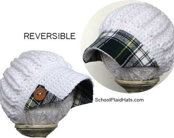 Winter hat with tartan plaid brim and wood buttons, reversible hat, wholesale hats, cute winter hats, gifts for her, plaid hat, plaid hats