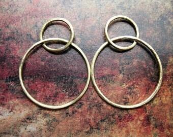 Brushed Bright Brass Interlocking Hoop Findings - 1 pair - 1.5 inches in length - 16 gauge