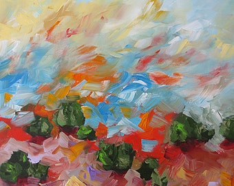 Giclee Print of Acrylic Abstract Landscape Painting Impressionist Made To Order Bold Red Green Blue Large Fine Art Print Wall Decor Monfort