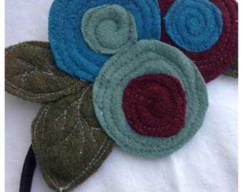SALE- The Little Garden Bloom- Felted Wool Headband or Brooch-Triple Bloom