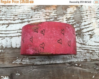 40% OFF- Custom Leather Cuff-Create Your Own-Word Cuff-Hand Painted and Burned-Hearts