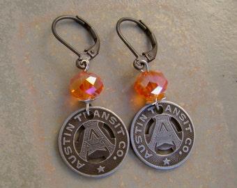 Angst in Austin - Vintage Austin Texas Transit Tokens Orange Glass Beads Recycled Repurposed Jewelry Earrings
