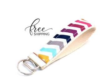 Key Fob Keychain Wristlet   Fabric Keychain with Rainbow Stripe