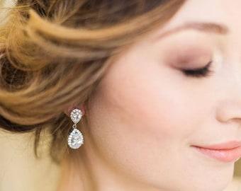 Crystal and Silver Teardrop Earrings, Jodie