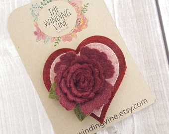 Valentine Burgundy/Pink/Pomegranate Felt Heart & Flower Hair Clip/Barrette/Headband - Felt Hair Accessory for baby, toddler, child, adult