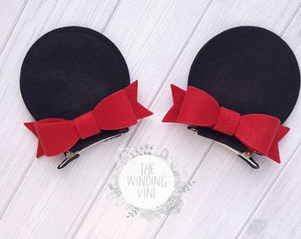 Felt Minnie Mouse Top-of-Head Ear Clips with Your Choice of Bow Color