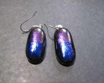 Purple and Green dichroic glass on black glass earrings
