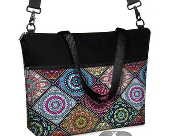 "17 inch Laptop Tote Bag Womens Briefcase Crossbody Laptop Bag 15.6""  Messenger Laptop Case Boho Bohemian Mandala fabric pockets zipper  MTO"