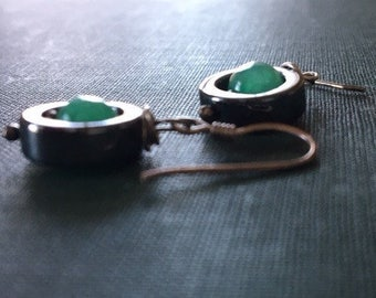 Circle Earrings - Green stone in a circle of Hematite stone.