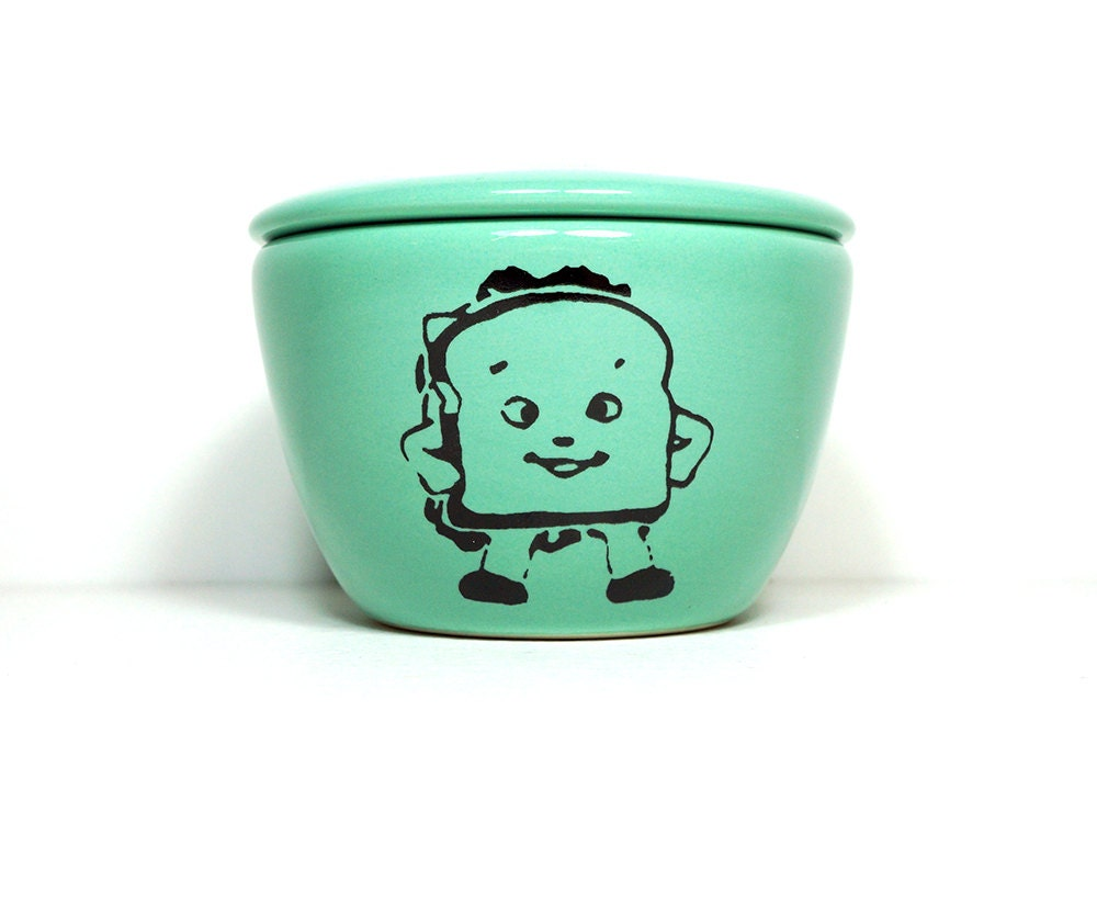 a lidded bowl / jar with a Heroic Sandwich food print shown here on a Blue Green glaze - Made to Order/ Pick Your Colour / Pick Your Print