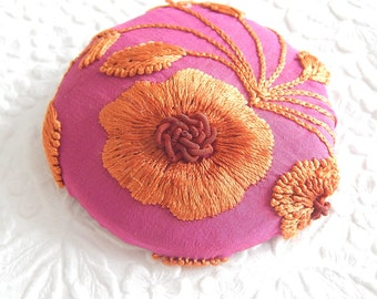 Dark pink gold  embroidered fabric covered  button, size 100 button, use as brooch , 2.5 inches, 6.35 cm, 63.5mm