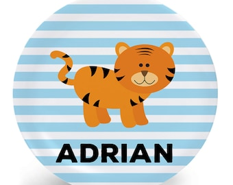 Tiger Plate - Personalized Plate for Kids - Child's Plate - Melamine Bowl or Plate Personalized (Plastic) - Custom Plate with Name