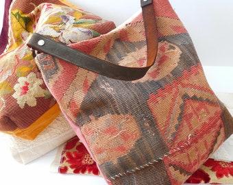 Kilim Rug Tote Bag Reclaimed Vintage Textile Purse