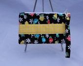 Gathered Clutch Purse - Clutch Handbag - Black Floral Clutch - Fabric Clutch - Fabric Purse - Makeup Bag - Gift Idea For Her