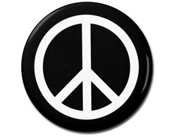 "Peace Symbol 1.25"" or 2.25"" Pinback Pin Button, Anti War, Peace Sign, World Peace, Peace on Earth"