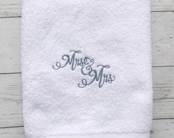 Mrs. and Mrs. Hand Towel ~ Mrs. and Mrs. Bath Towel ~ Gay Wedding Gift ~ Gay Bath Decor ~ Gay Wedding Decor ~ Gay Home Decor ~ Lesbian Decor
