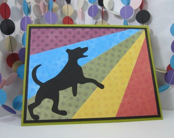 Rainbow Bridge Dog Card - black red orange yellow green blue violet - dog passing - pup condolence - dog sympathy
