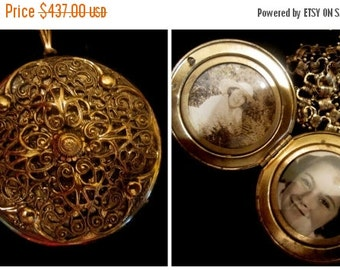 ON SALE Antique Victorian Book Chain and Filigree Locket Necklace