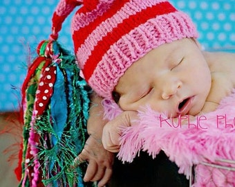 Newborn Baby Girl HAT Knit PHoTO PRoP Stocking Cap Pink Red Stripe w Turquoise Green FaT TaSSeL Coming Home Beanie CHRiSTMaS CaP Gift Toque