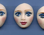 Polymer Clay Lot of 3 Finely  Detailed Blue Eyed  Faces Undrilled  FDBC 2