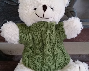 Stylish Cabled Funnel Neck Teddy Bear Sweater