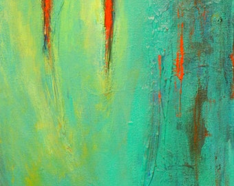 SOULMATE Romantic Art ORIGINAL Abstract Art TURQUOISE Red - Ready to Hang - 22x12 - Fine Art by BenWill