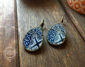 Boho jewelry, Mediterranean tile pattern earrings, raindrop earrings, resin, Bohemian fashion, Indigo Blue earrings, Pottery design