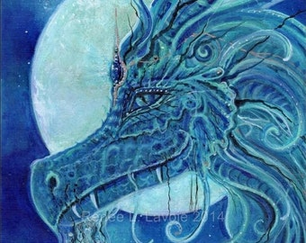 The blue dragon  fantasy art print  by artist Renee L. Lavoie