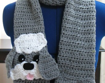 Gray Sheep Dog with White Accents Scarf Ready To Ship