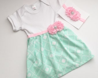 SHABBY CHIC Mint green and baby pink dress...one piece DRESS - new baby