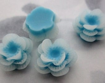 10 pcs. resin blue and white flower tiered cabochons 13x10 w an 8mm base - f5375