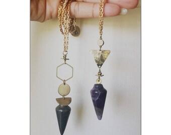 Pyrite Pendulum Necklace - Crescent Moon Pendant  Necklace - vintage chain -  full moon - Moon Magic  crystal pendulum
