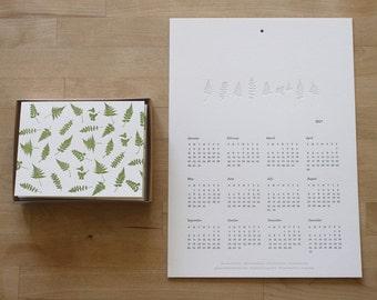 Letterpress Fern Calendar + Notecard Gift Set