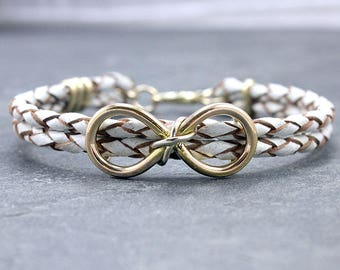 Interlocked INFINITY Braided Leather Cord Bracelet, 14K Solid Gold,Silver, For Her