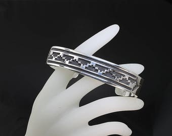 Vintage! Sterling Silver Mens Cuff Bracelet by Mary and Ken Bill