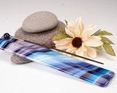 Blueberry swirls  long glass incense burner, yoga incense holder, meditation incense holder, incense burner