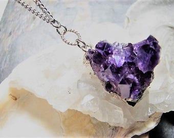 Amethyst Druzy Quartz Necklace
