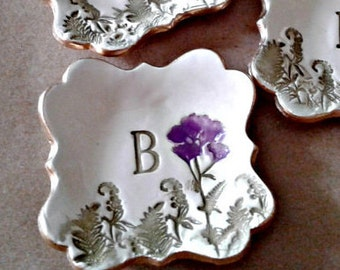 Bridesmaid gift ONE  Monogram Ceramic Ring Holder Dish Made To Order ONE edged in gold 3 inches wide
