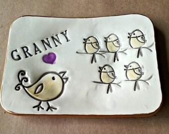 GRANNY Ceramic Trinket  Dish 5 Birdies edged in gold  Mothers day