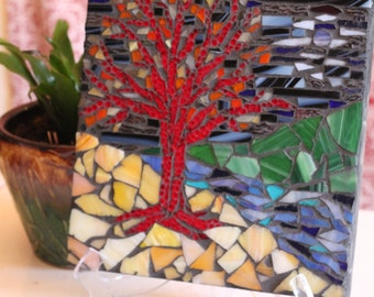 Night Tree Stained Glass Mosaic