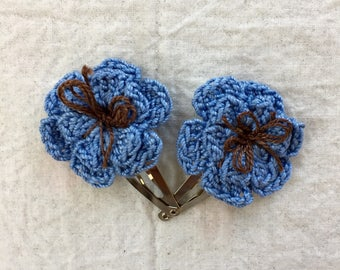 Flower Hair Clips-Cornflower Blue