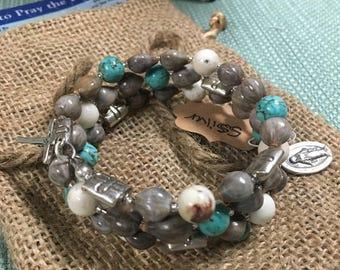 Jobs Tears Rosary Bracelet (Sterling Silver)