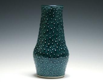 Vase, Teal Vase, Dotted Vase, Narrow Vase, Blue Green Vase, Home Decor, Ceramic Vase, Handmade Pottery