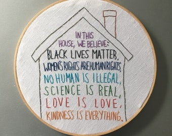 In This House - hand lettered and embroidered wall hanging