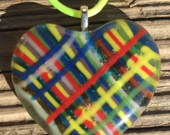 Plaid Fused Glass Heart Necklace