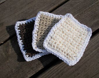 CLEARANCE, Crochet Cotton Sponges Dishcloth Spring Cleaning Sponges-100 Percent Cotton- Brown Linen Cream-Set of 3-Thick