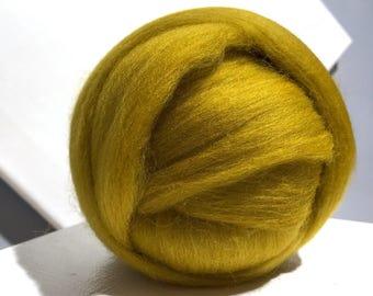 Mustard Yellow Merino Roving, gold wool roving, Needle Felting wool, Spinning Fiber, Dijon mustard dark yellow gold roving, w 3 free samples
