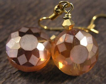 Golden yellow Sunshine sparkly faceted glass beads, swarovski crystal and gold handmade earrings